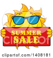Clipart Of A Yellow Sun Character Mascot Wearing Shades And Holding A Summer Sale Sign Royalty Free Vector Illustration by Hit Toon