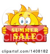 Clipart Of A Yellow Sun Character Mascot Holding A Summer Sale Sign Royalty Free Vector Illustration