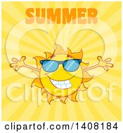 Clipart Of A Yellow Summer Time Sun Character Mascot With Open Arms With Text On Yellow Royalty Free Vector Illustration