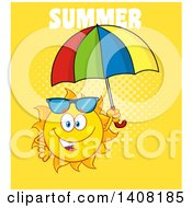 Clipart Of A Yellow Summer Time Sun Character Mascot Holding An Umbrella With Text On Yellow Royalty Free Vector Illustration