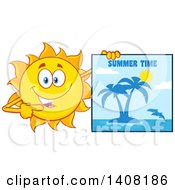 Clipart Of A Yellow Summer Time Sun Character Mascot Holding A Tropical Island Picture Royalty Free Vector Illustration