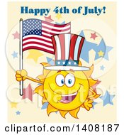 Yellow Summer Time Sun Character Mascot Holding An American Flag And Wearing A Top Hat With Text On Tan