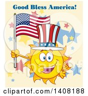 Clipart Of A Yellow Summer Time Sun Character Mascot Holding An American Flag And Wearing A Top Hat With Text On Tan Royalty Free Vector Illustration
