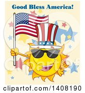 Clipart Of A Yellow Summer Time Sun Character Mascot Holding An American Flag And Wearing Shades And A Top Hat With Text On Tan Royalty Free Vector Illustration
