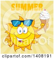Clipart Of A Yellow Summer Time Sun Character Mascot Holding An Ice Cream Cone With Text On Yellow Royalty Free Vector Illustration