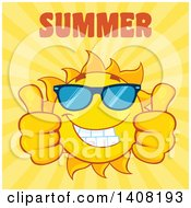 Clipart Of A Yellow Summer Time Sun Character Mascot Giving Two Thumbs Up With Text On Yellow Royalty Free Vector Illustration