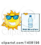 Clipart Of A Yellow Summer Time Sun Character Mascot Holding A Drink More Water Sign Royalty Free Vector Illustration by Hit Toon