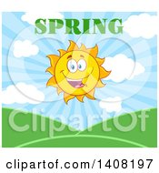 Clipart Of A Yellow Sun Character Mascot With Spring Text Over Hills Royalty Free Vector Illustration