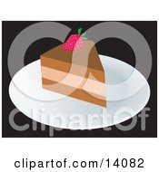 Slice Of Cake With A Strawberry Food Clipart Illustration