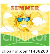 Clipart Of A Yellow Summer Time Sun Character Mascot With Text Over Hills Royalty Free Vector Illustration