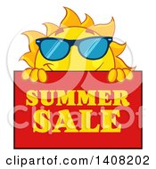 Clipart Of A Yellow Sun Character Mascot With A Summer Sale Sign Royalty Free Vector Illustration by Hit Toon
