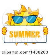 Clipart Of A Yellow Sun Character Mascot Wearing Shades And Holding A Summer Sign Royalty Free Vector Illustration