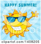 Clipart Of A Yellow Sun Character Mascot Wearing Shades And Waving With Happy Summer Text On Blue Royalty Free Vector Illustration