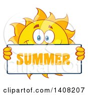 Clipart Of A Yellow Sun Character Mascot Holding A Summer Sign Royalty Free Vector Illustration