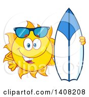 Clipart Of A Yellow Summer Time Sun Character Mascot Posing With A Surf Board Royalty Free Vector Illustration