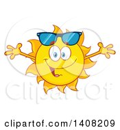 Clipart Of A Yellow Summer Time Sun Character Mascot With Open Arms Royalty Free Vector Illustration