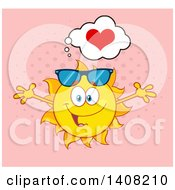 Clipart Of A Yellow Summer Time Sun Character Mascot With Open Arms With A Heart On Pink Royalty Free Vector Illustration