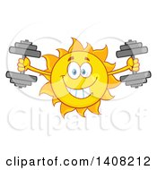 Clipart Of A Yellow Summer Time Sun Character Mascot Working Out With Dumbbells Royalty Free Vector Illustration
