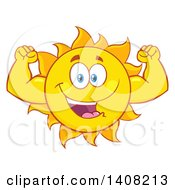 Clipart Of A Yellow Summer Time Sun Character Mascot Flexing Royalty Free Vector Illustration