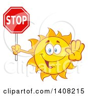 Clipart Of A Yellow Summer Time Sun Character Mascot Holding A Stop Sign Royalty Free Vector Illustration