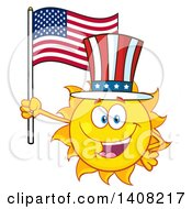 Yellow Summer Time Sun Character Mascot Holding An American Flag And Wearing A Top Hat