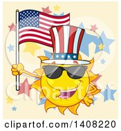 Clipart Of A Yellow Summer Time Sun Character Mascot Holding An American Flag And Wearing Shades And A Top Hat On Tan Royalty Free Vector Illustration by Hit Toon