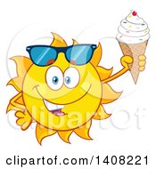 Clipart Of A Yellow Summer Time Sun Character Mascot Holding An Ice Cream Cone Royalty Free Vector Illustration