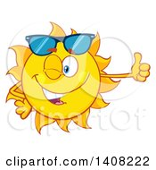 Clipart Of A Yellow Summer Time Sun Character Mascot Winking And Giving A Thumb Up Royalty Free Vector Illustration