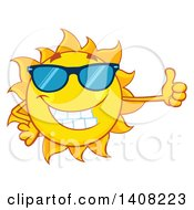 Clipart Of A Yellow Summer Time Sun Character Mascot Giving A Thumb Up Royalty Free Vector Illustration