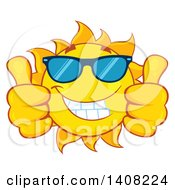 Clipart Of A Yellow Summer Time Sun Character Mascot Giving Two Thumbs Up Royalty Free Vector Illustration