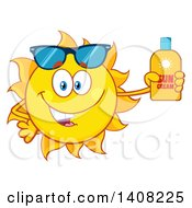 Clipart Of A Yellow Summer Time Sun Character Mascot Holding A Bottle Of Lotion Royalty Free Vector Illustration