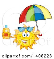 Clipart Of A Yellow Summer Time Sun Character Mascot Holding A Bottle Of Lotion And A Parasol Royalty Free Vector Illustration