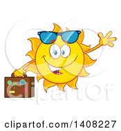 Clipart Of A Yellow Summer Time Sun Character Mascot Waving And Carrying A Suitcase Royalty Free Vector Illustration