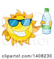 Clipart Of A Yellow Summer Time Sun Character Mascot Holding A Bottled Water Royalty Free Vector Illustration by Hit Toon
