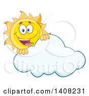 Clipart Of A Yellow Summer Time Sun Character Mascot Smiling Over A Cloud Royalty Free Vector Illustration by Hit Toon