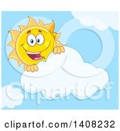 Clipart Of A Yellow Summer Time Sun Character Mascot Looking Over A Cloud In A Blue Sky Royalty Free Vector Illustration by Hit Toon