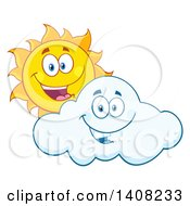 Clipart Of A Yellow Summer Time Sun Character Mascot Looking Over A Cloud Royalty Free Vector Illustration by Hit Toon