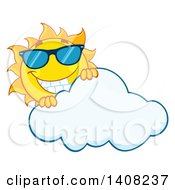 Clipart Of A Yellow Summer Time Sun Character Mascot Wearing Shades And Smiling Over A Cloud Royalty Free Vector Illustration by Hit Toon