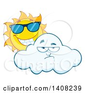 Clipart Of A Yellow Summer Time Sun Character Mascot Wearing Shades And Looking Over A Cloud Royalty Free Vector Illustration by Hit Toon