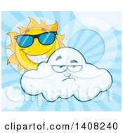 Clipart Of A Yellow Summer Time Sun Character Mascot Wearing Shades And Looking Over A Cloud Over Blue Rays Royalty Free Vector Illustration by Hit Toon