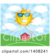Yellow Summer Time Sun Character Mascot Shining Over A Barn And Farm Land