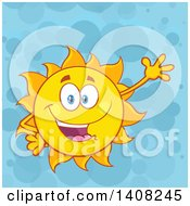 Clipart Of A Yellow Summer Time Sun Character Mascot Waving Over Blue Royalty Free Vector Illustration