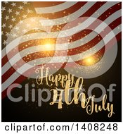 Clipart Of A Background Of Gold Fireworks A Waving American Flag And Happy 4th July Text Royalty Free Vector Illustration by KJ Pargeter