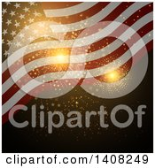 Clipart Of A Background Of Gold Independence Day Fireworks And A Waving American Flag Royalty Free Vector Illustration