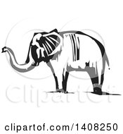 Clipart Of A Black And White Woodcut Elephant Royalty Free Vector Illustration