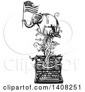 Clipart Of A Black And White Woodcut Elephant Holding An American Flag On A Vine Over A Typewriter Royalty Free Vector Illustration