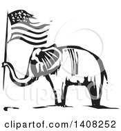 Clipart Of A Black And White Woodcut Elephant Holding An American Flag Royalty Free Vector Illustration