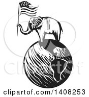 Clipart Of A Black And White Woodcut Elephant Holding An American Flag On A Globe Royalty Free Vector Illustration