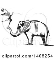 Clipart Of A Black And White Woodcut Female Dancer Standing On An Elephants Trunk Royalty Free Vector Illustration