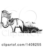 Clipart Of A Black And White Woodcut Republican Elephant Holding An American Flag With People Marching Royalty Free Vector Illustration